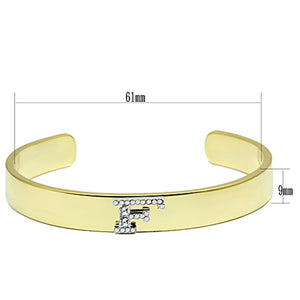 LO2575 Gold+Rhodium White Metal Bangle with Top Grade Crystal in Clear