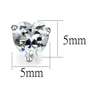 LOS882 Rhodium 925 Sterling Silver Earrings with AAA Grade CZ in Clear