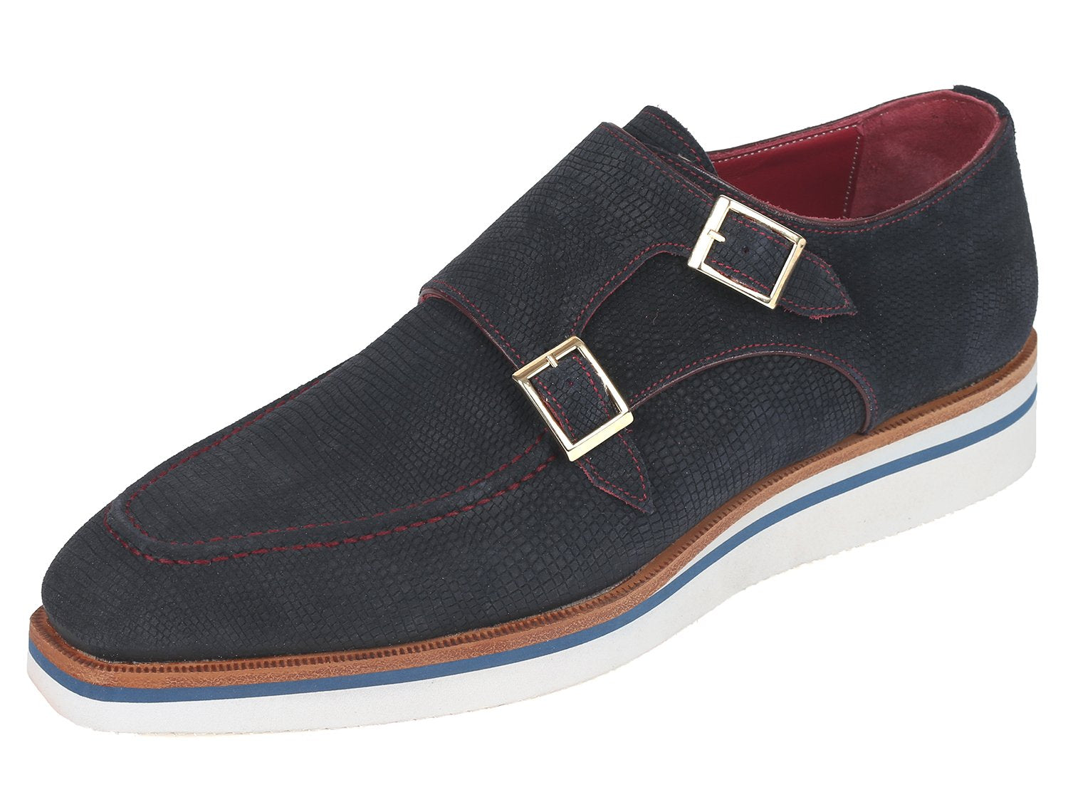 Paul Parkman Men's Smart Casual Monkstrap Shoes Navy Suede (ID#189-NVY-SD)
