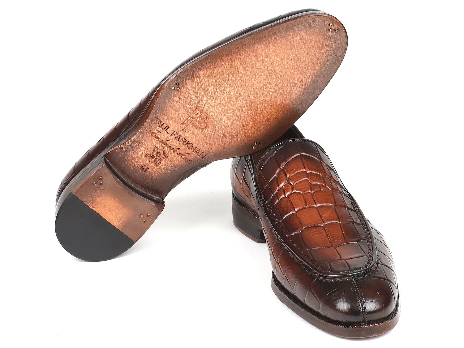 Paul Parkman Brown Burnished Crocodile Embossed Calfskin Loafer (ID#7339-BRW)