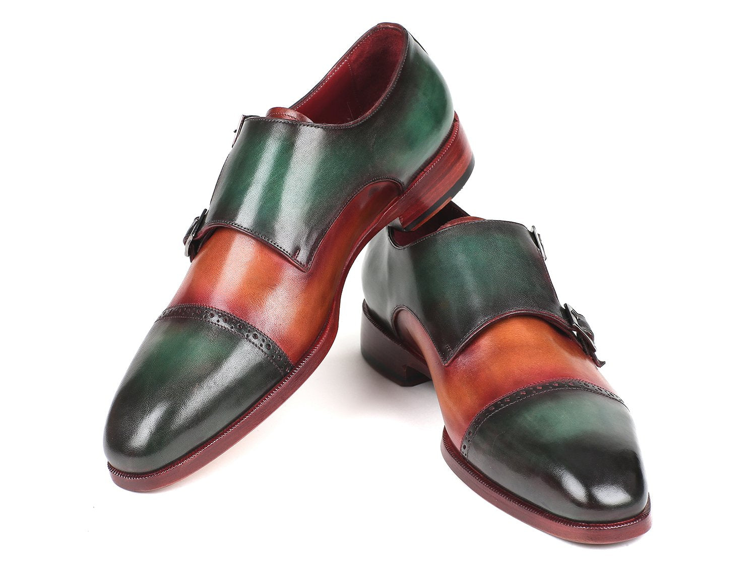 Paul Parkman Captoe Double Monkstraps Green & Camel (ID#045GC61)