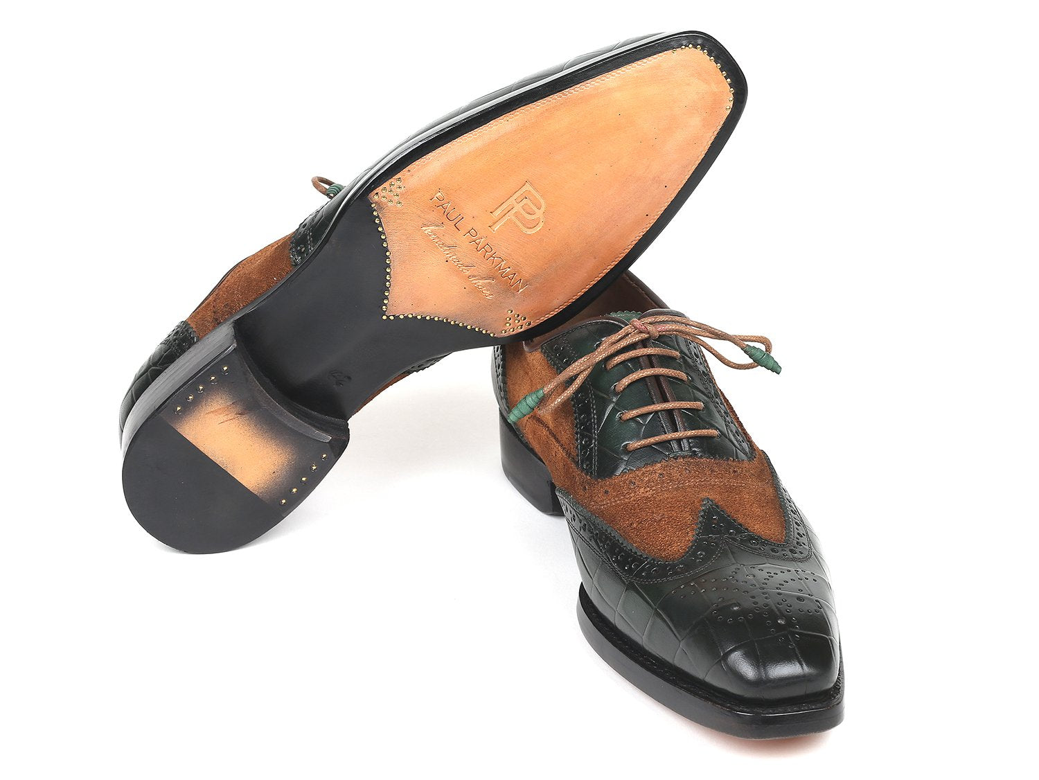 Paul Parkman Goodyear Welted Wingtip Oxfords Brown & Green (ID#9941-BWG)