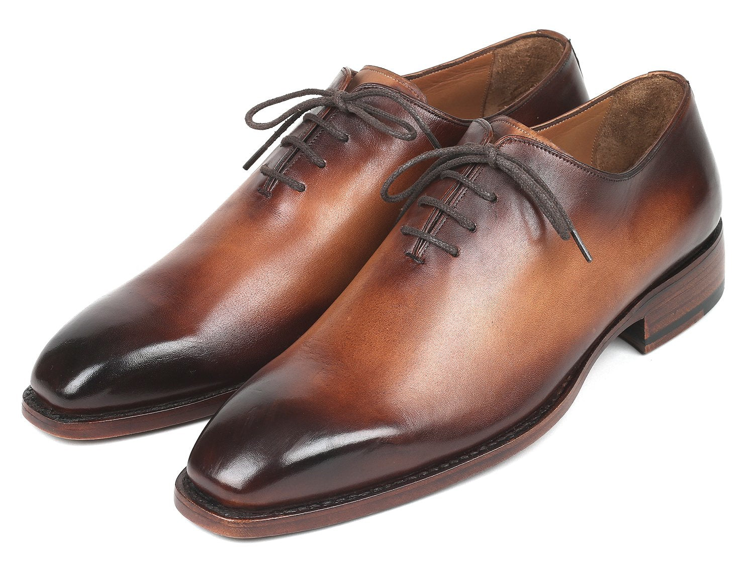 Paul Parkman Men's Wholecut Oxfords Brown Leather (ID#3222-BRW)