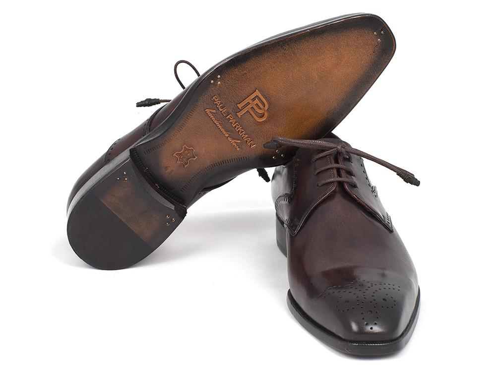 Paul Parkman Men's Brown Medallion Toe Derby Shoes (ID#6584-BRW)