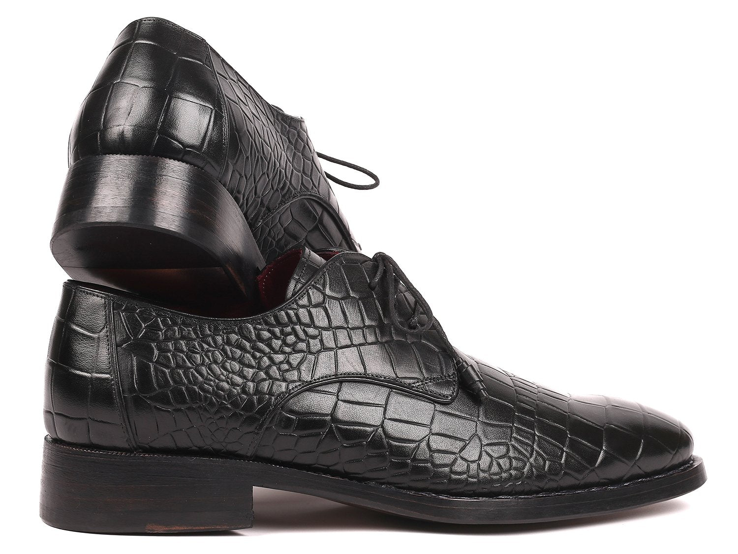Paul Parkman Black Crocodile Embossed Calfskin Goodyear Welted Derby Shoes (ID#5254BLK)