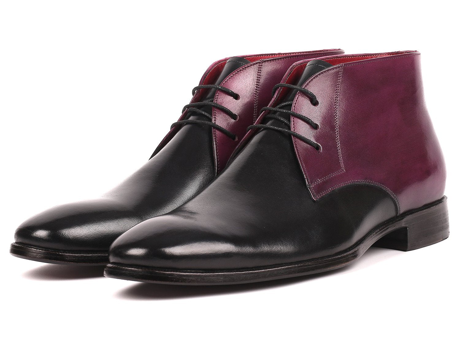 Paul Parkman Men's Chukka Boots Black & Purple (ID#CK68H1)