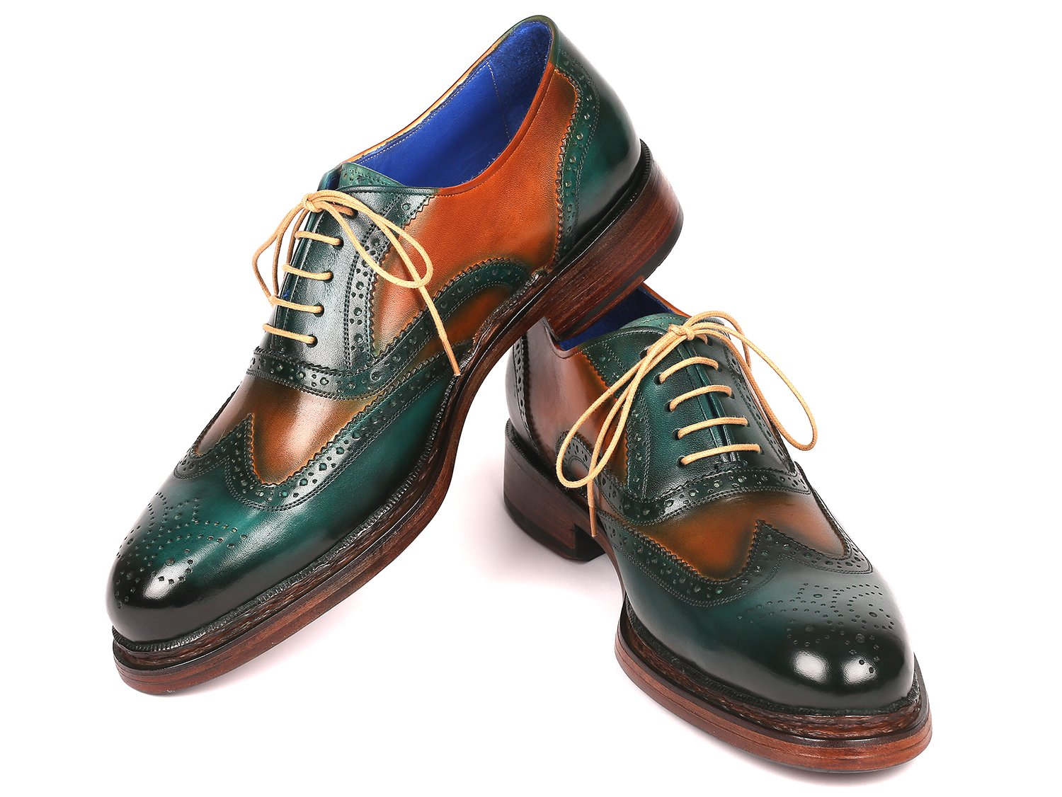 Paul Parkman Wingtip Oxfords Goodyear Welted Green & Tobacco (ID#027-GRN-TAB)