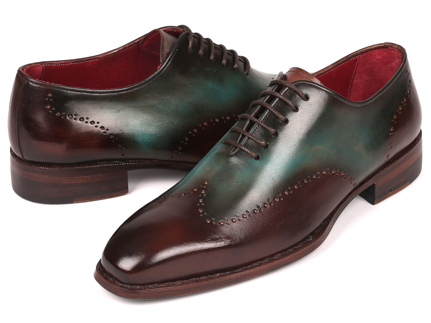 Paul Parkman Goodyear Welted Wingtip Oxfords Brown & Turquoise (ID#081-BTQ)