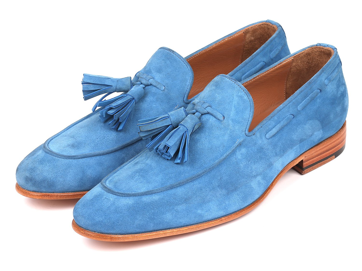 Paul Parkman Men's Tassel Loafers Blue Suede (ID#BLU32FG)