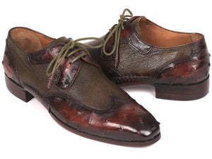 Paul Parkman Ostrich Skin Wingtip Derby Shoes Brown & Green (ID#844H389)