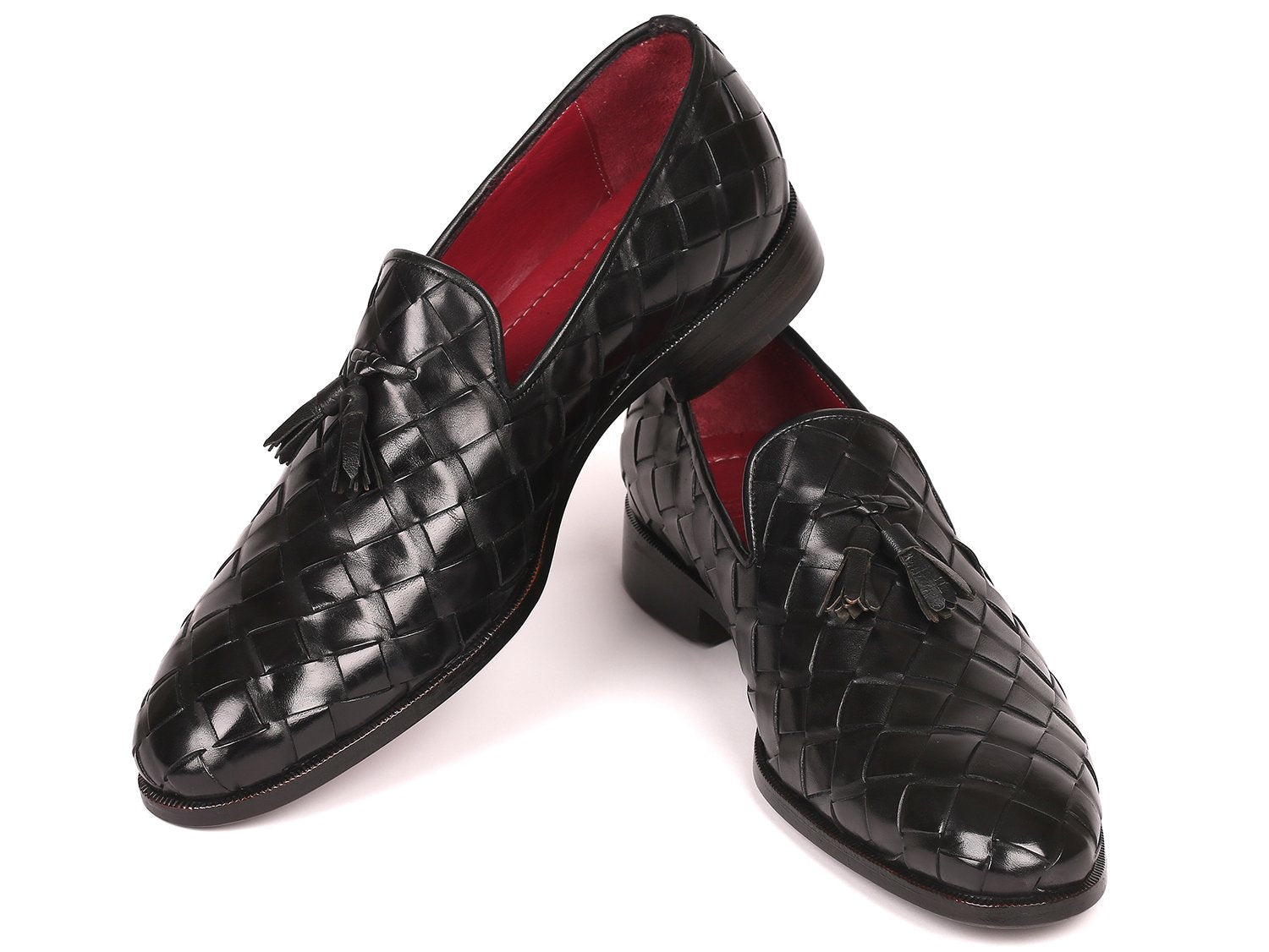 Paul Parkman Men's Big Braided Tassel Loafers Black (ID#6623-BLK)