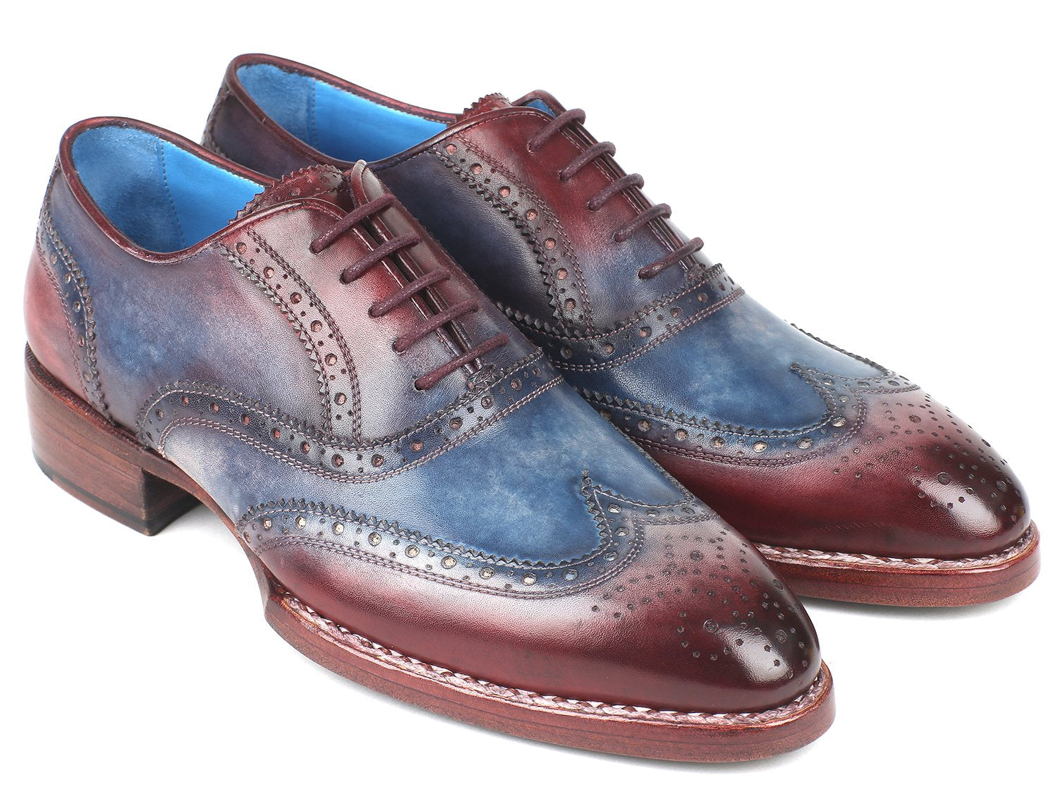 Paul Parkman Goodyear Welted Two Tone Wingtip Oxfords Blue & Bordeaux (ID#27LD77)