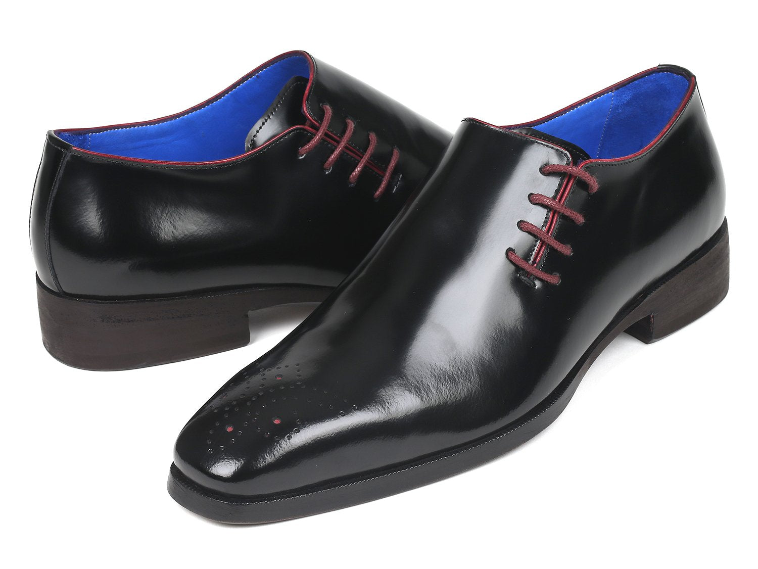 Paul Parkman Side Lace Oxfords Black Polished Leather (ID#981X65)