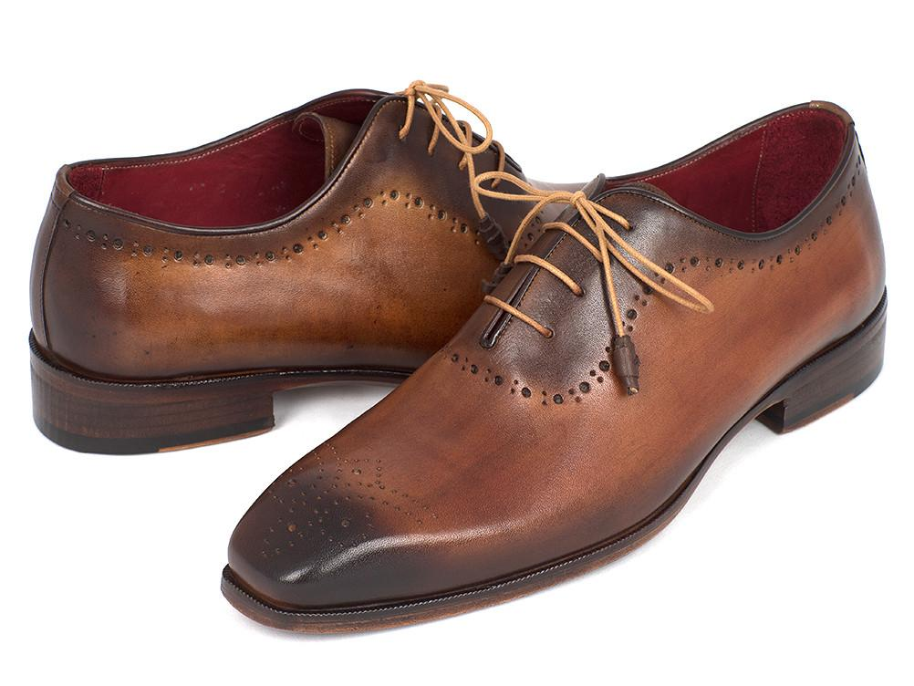 Paul Parkman Men's Brown & Camel Medallion Toe Oxfords (ID#GF61AZ)