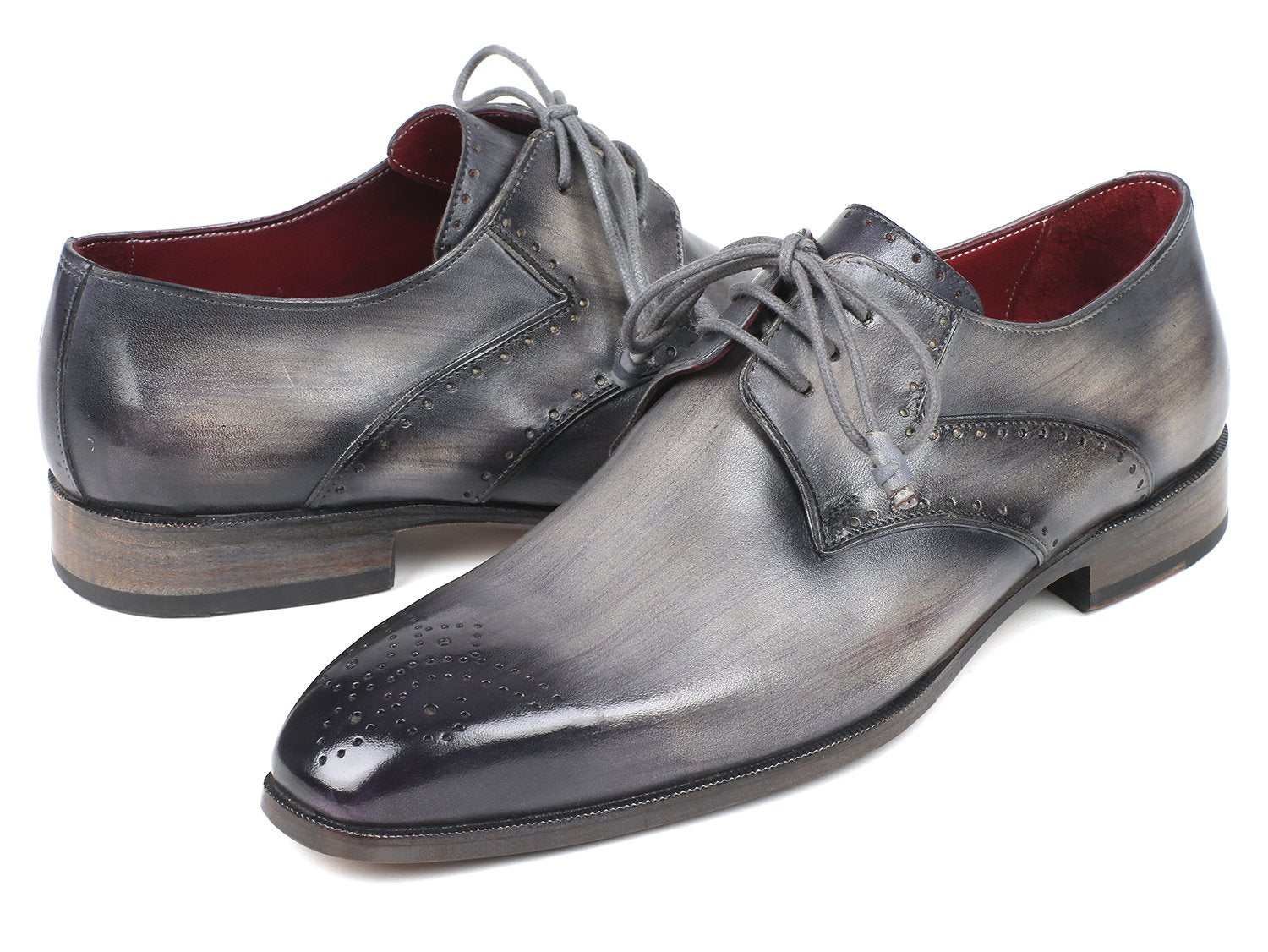 Paul Parkman Men's Gray Medallion Toe Derby Shoes (ID#6584-GRY)