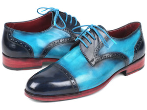 Paul Parkman Two Tone Cap-Toe Derby Shoes Blue & Turquoise (ID#046-TRQ)