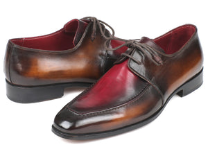 Paul Parkman Brown & Bordeaux Dual Tone Apron Derby Shoes (ID#33BB12)