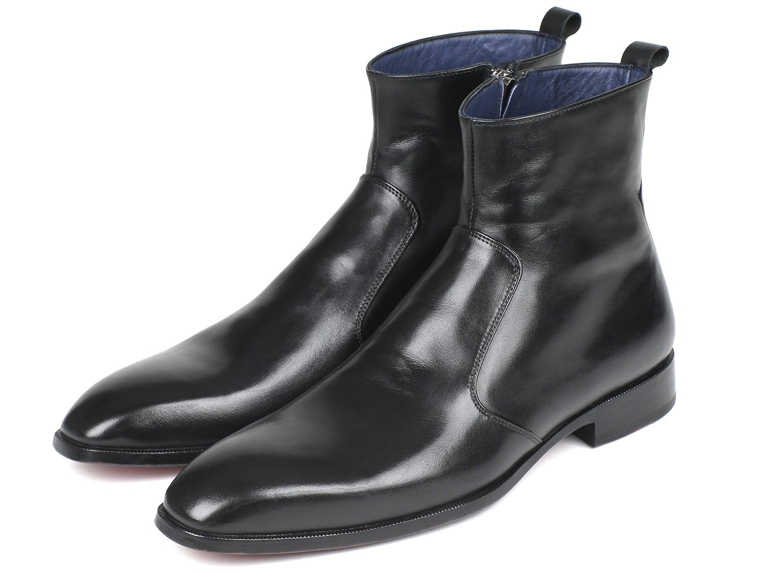 Paul Parkman Black Leather Side Zipper Boots (ID#BT485-BLK)