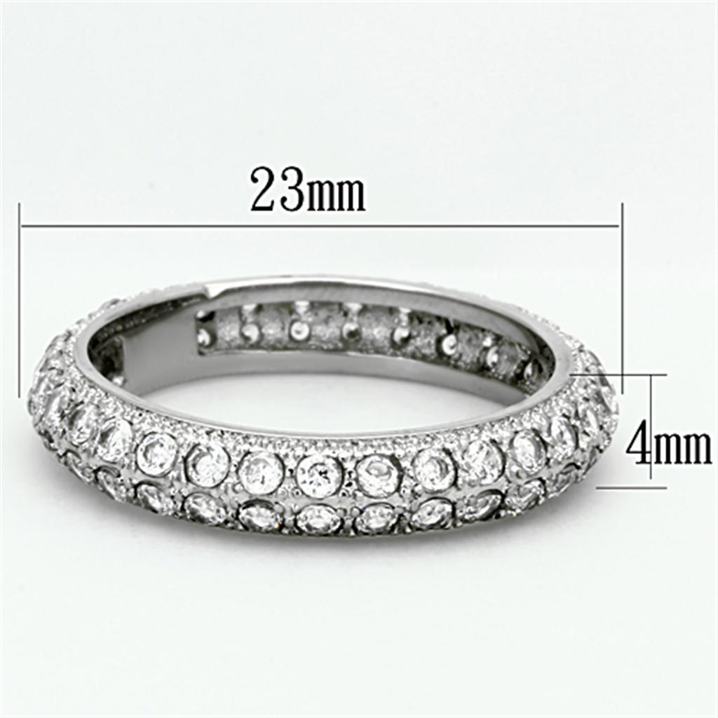 TK1225 High polished (no plating) Stainless Steel Ring with AAA Grade CZ in Clear