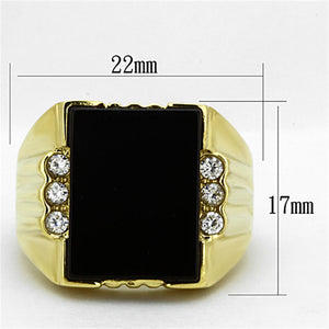 TK1236 IP Gold(Ion Plating) Stainless Steel Ring with Synthetic in Jet