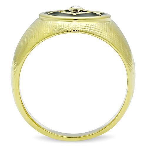 TK1403 IP Gold(Ion Plating) Stainless Steel Ring with Top Grade Crystal in Clear