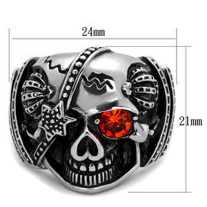 TK2061 High polished (no plating) Stainless Steel Ring with Top Grade Crystal in Orange