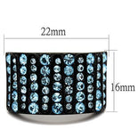 TK2198 IP Black(Ion Plating) Stainless Steel Ring with Top Grade Crystal in Sea Blue