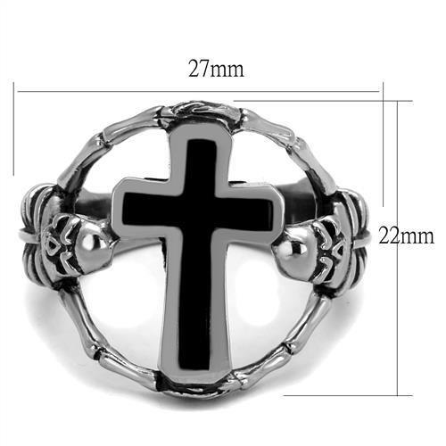 TK2313 High polished (no plating) Stainless Steel Ring with Epoxy in Jet