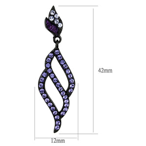 TK2379 IP Black(Ion Plating) Stainless Steel Earrings with Top Grade Crystal in Tanzanite