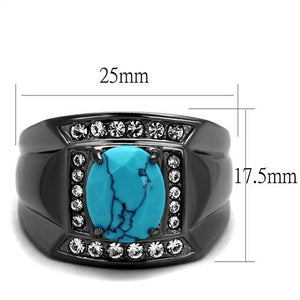 TK2662 IP Light Black  (IP Gun) Stainless Steel Ring with Synthetic in Sea Blue