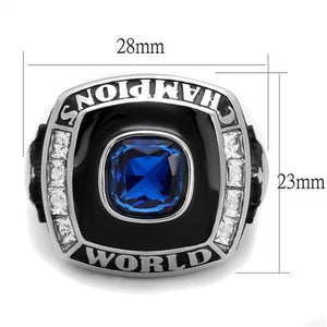 TK2665 High polished (no plating) Stainless Steel Ring with Synthetic in Sapphire