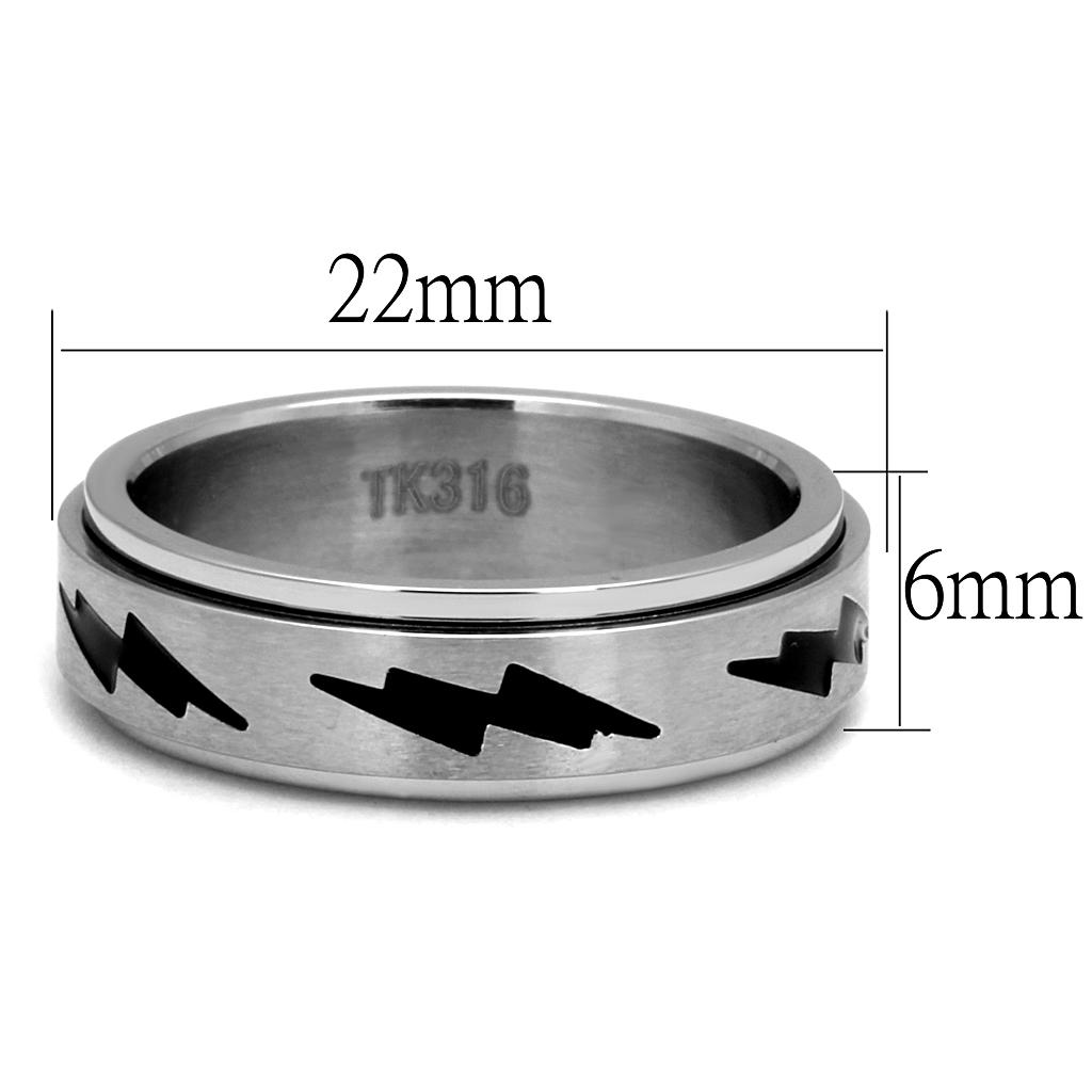 TK2926 High polished (no plating) Stainless Steel Ring with Epoxy in Jet