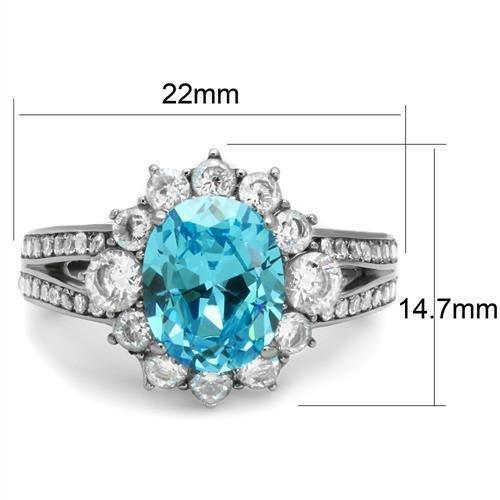TK2977 High polished (no plating) Stainless Steel Ring with AAA Grade CZ in Sea Blue