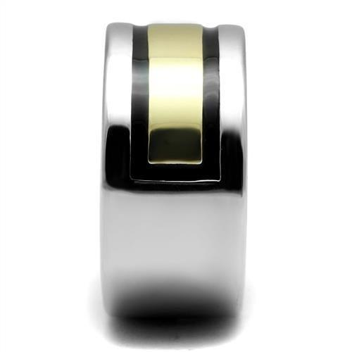 TK3008 Two-Tone IP Gold (Ion Plating) Stainless Steel Ring with Epoxy in Jet