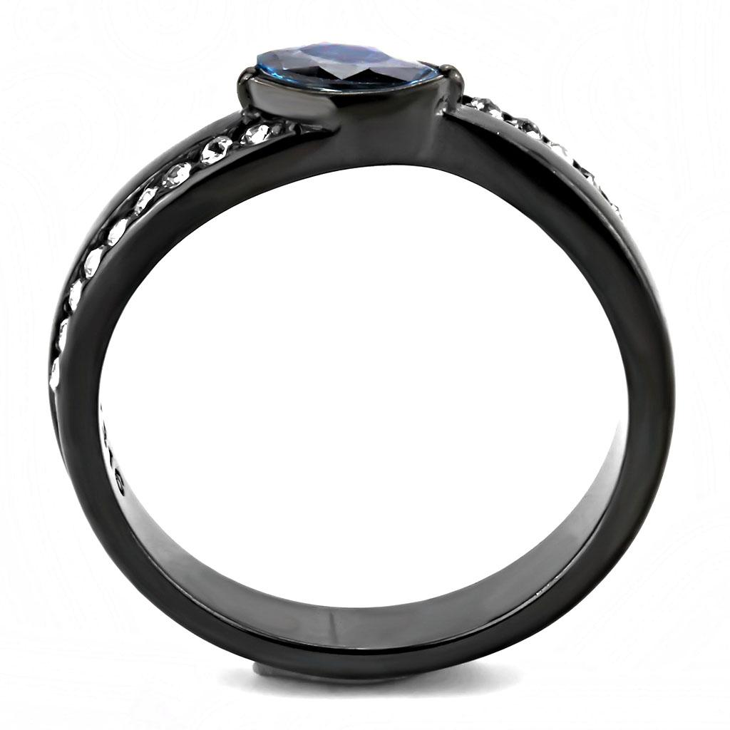TK3511 IP Light Black  (IP Gun) Stainless Steel Ring with AAA Grade CZ in Sea Blue
