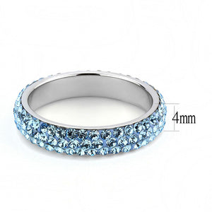 TK3535 High polished (no plating) Stainless Steel Ring with Top Grade Crystal in Sea Blue