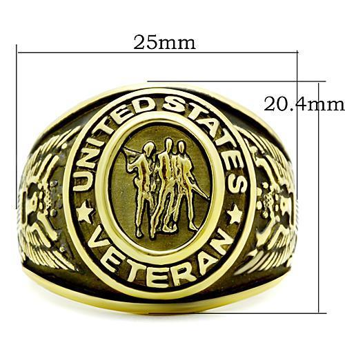 TK414704G IP Gold(Ion Plating) Stainless Steel Ring with Epoxy in Jet