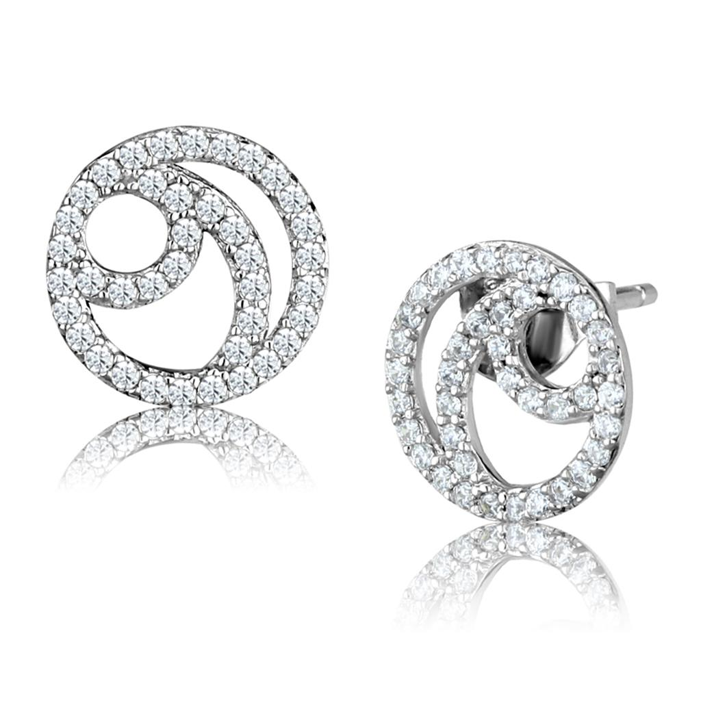 TS511 Rhodium 925 Sterling Silver Earrings with AAA Grade CZ in Clear