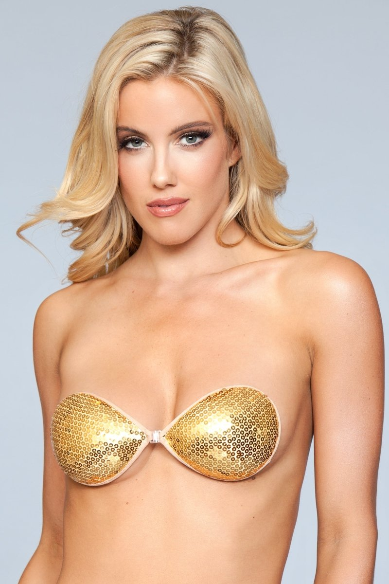 XB091 GD Sequin Adhesive Bra - Gold