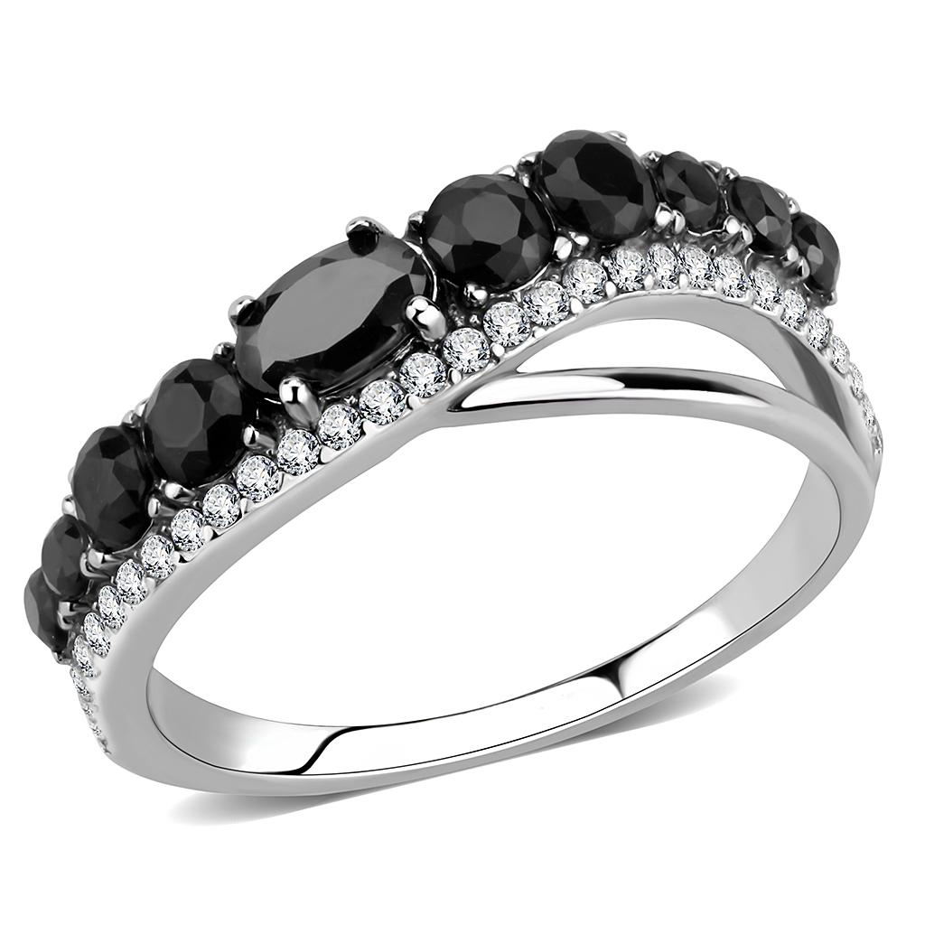 DA269 High polished (no plating) Stainless Steel Ring with AAA Grade CZ in Black Diamond