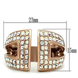 GL222 IP Rose Gold(Ion Plating) Brass Ring with Top Grade Crystal in Aurora Borealis (Rainbow Effect)