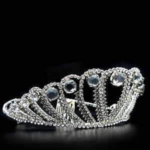 LO2108 Imitation Rhodium Brass Tiaras & Hair Clip with Top Grade Crystal in Clear