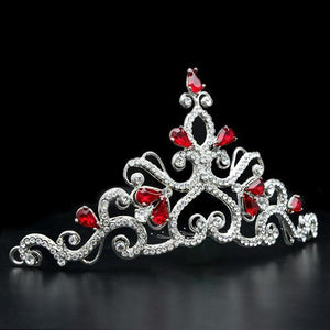 LO2109 Imitation Rhodium Brass Tiaras & Hair Clip with Top Grade Crystal in Ruby