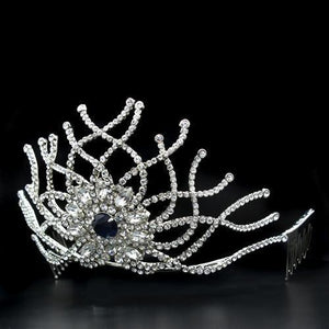 LO2111 Imitation Rhodium Brass Tiaras & Hair Clip with Top Grade Crystal in Montana