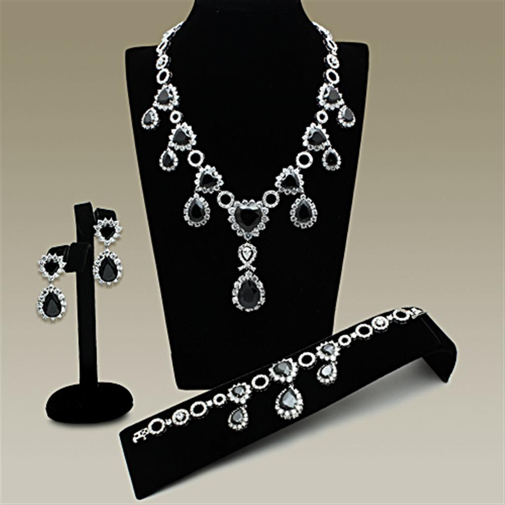 LO2325 Rhodium Brass Jewelry Sets with AAA Grade CZ in Jet