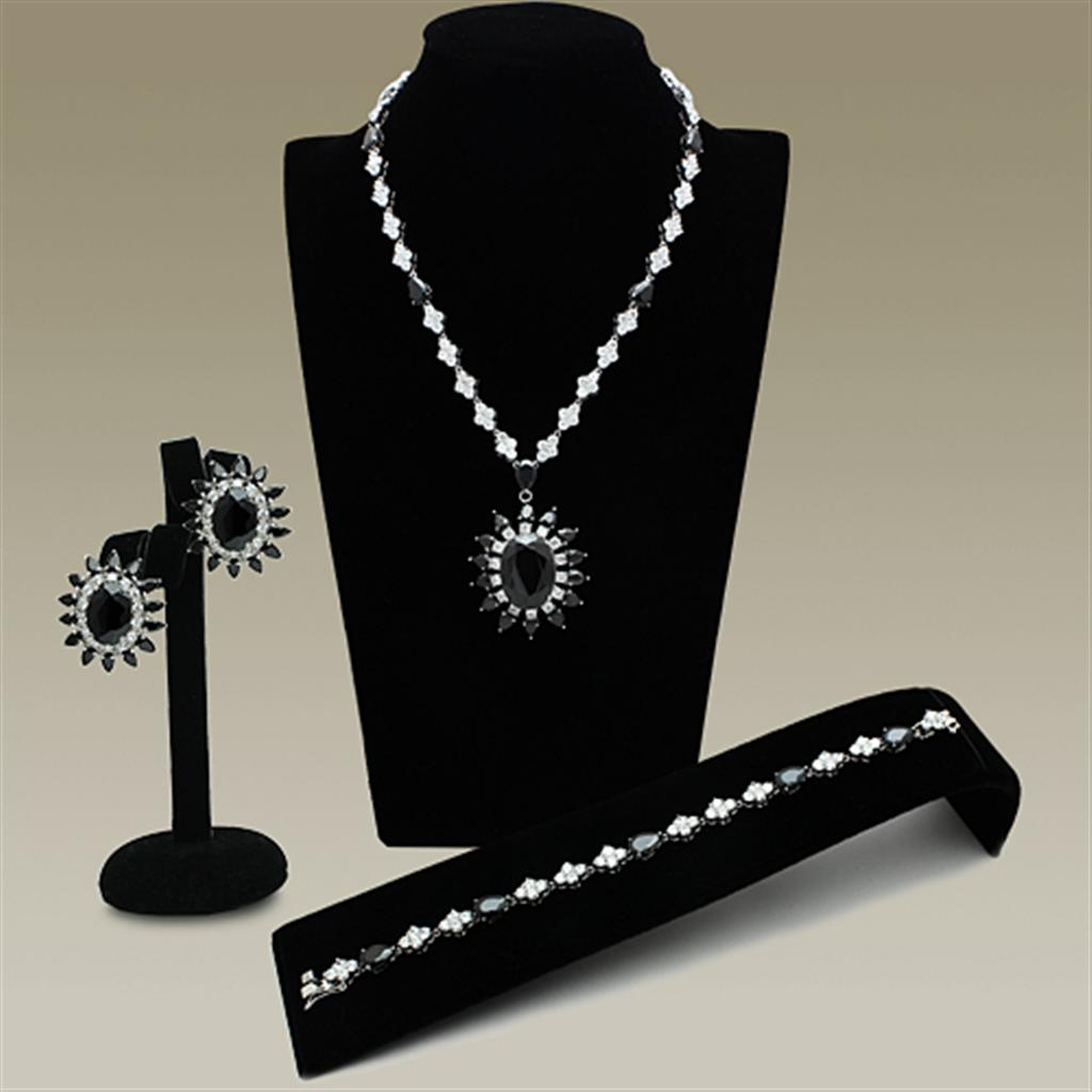 LO2330 Rhodium Brass Jewelry Sets with AAA Grade CZ in Jet