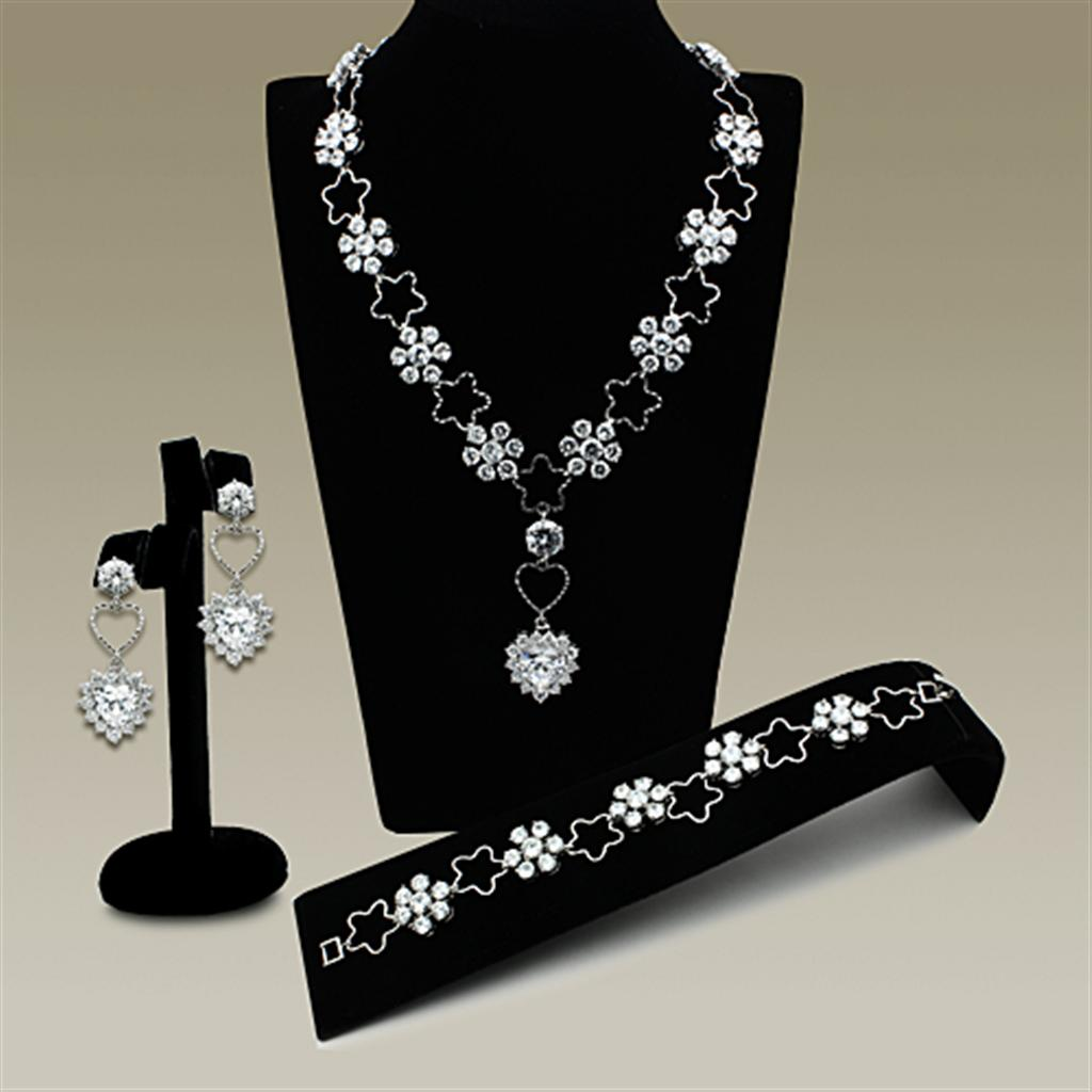 LO2357 Rhodium Brass Jewelry Sets with AAA Grade CZ in Clear