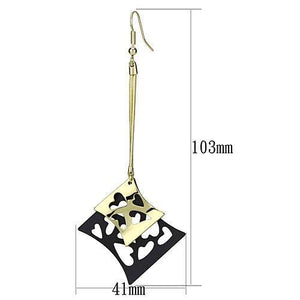 LO2704 Gold+Ruthenium Iron Earrings with No Stone in No Stone