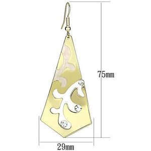 LO2710 Gold Iron Earrings with Top Grade Crystal in Clear