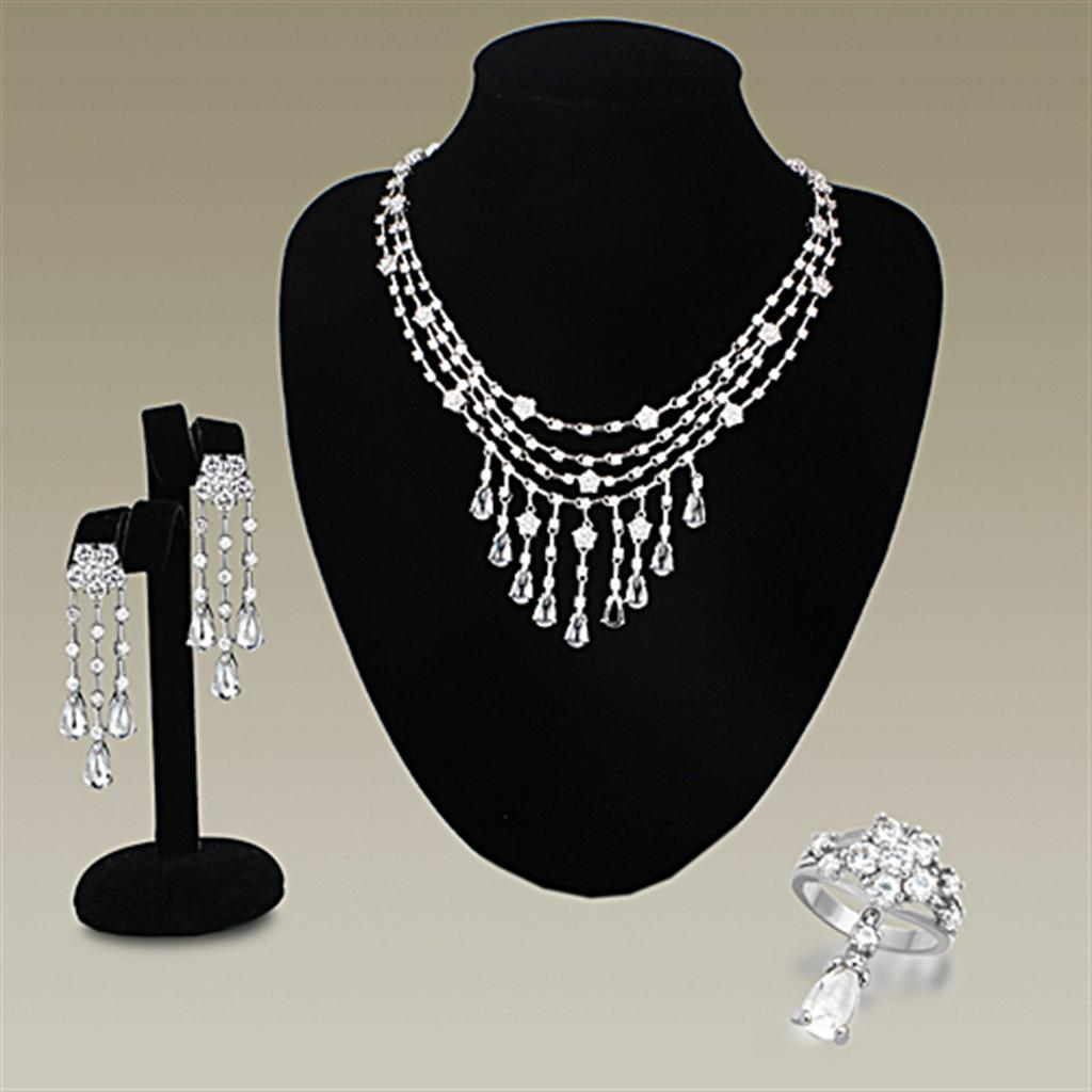 LO3076 Rhodium Brass Jewelry Sets with AAA Grade CZ in Clear